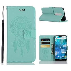 Intricate Embossing Owl Campanula Leather Wallet Case for Nokia 7.1 - Green