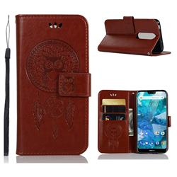 Intricate Embossing Owl Campanula Leather Wallet Case for Nokia 7.1 - Brown