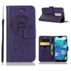 Intricate Embossing Owl Campanula Leather Wallet Case for Nokia 7.1 - Purple
