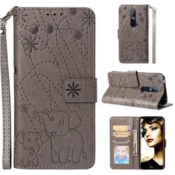 Embossing Fireworks Elephant Leather Wallet Case for Nokia 7.1 - Gray