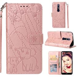 Embossing Fireworks Elephant Leather Wallet Case for Nokia 7.1 - Rose Gold