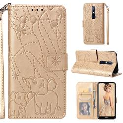 Embossing Fireworks Elephant Leather Wallet Case for Nokia 7.1 - Golden