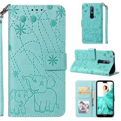 Embossing Fireworks Elephant Leather Wallet Case for Nokia 7.1 - Green