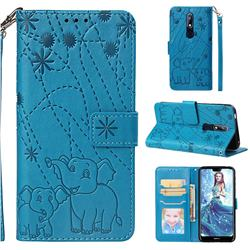 Embossing Fireworks Elephant Leather Wallet Case for Nokia 7.1 - Blue