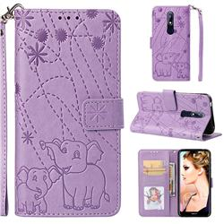 Embossing Fireworks Elephant Leather Wallet Case for Nokia 7.1 - Purple