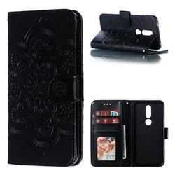 Intricate Embossing Datura Solar Leather Wallet Case for Nokia 7.1 - Black