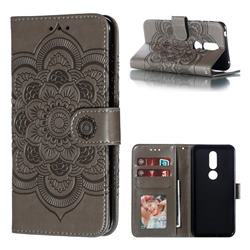 Intricate Embossing Datura Solar Leather Wallet Case for Nokia 7.1 - Gray
