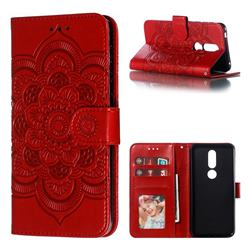 Intricate Embossing Datura Solar Leather Wallet Case for Nokia 7.1 - Red