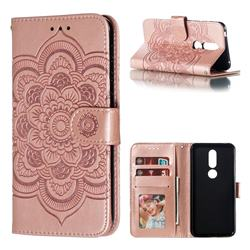 Intricate Embossing Datura Solar Leather Wallet Case for Nokia 7.1 - Rose Gold