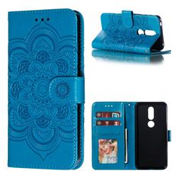 Intricate Embossing Datura Solar Leather Wallet Case for Nokia 7.1 - Blue