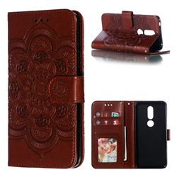 Intricate Embossing Datura Solar Leather Wallet Case for Nokia 7.1 - Brown