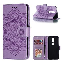 Intricate Embossing Datura Solar Leather Wallet Case for Nokia 7.1 - Purple