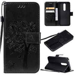 Embossing Butterfly Tree Leather Wallet Case for Nokia 7.1 - Black