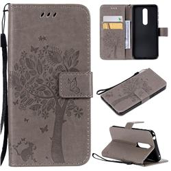 Embossing Butterfly Tree Leather Wallet Case for Nokia 7.1 - Grey