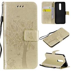 Embossing Butterfly Tree Leather Wallet Case for Nokia 7.1 - Champagne