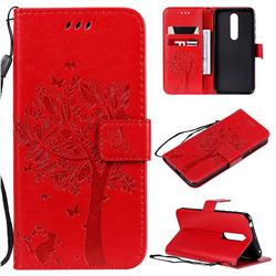 Embossing Butterfly Tree Leather Wallet Case for Nokia 7.1 - Red