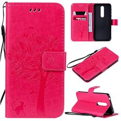 Embossing Butterfly Tree Leather Wallet Case for Nokia 7.1 - Rose