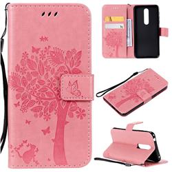Embossing Butterfly Tree Leather Wallet Case for Nokia 7.1 - Pink