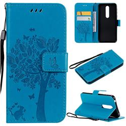 Embossing Butterfly Tree Leather Wallet Case for Nokia 7.1 - Blue