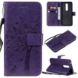 Embossing Butterfly Tree Leather Wallet Case for Nokia 7.1 - Purple