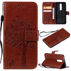 Embossing Butterfly Tree Leather Wallet Case for Nokia 7.1 - Coffee
