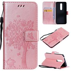 Embossing Butterfly Tree Leather Wallet Case for Nokia 7.1 - Rose Pink