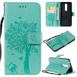 Embossing Butterfly Tree Leather Wallet Case for Nokia 7.1 - Cyan