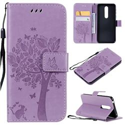 Embossing Butterfly Tree Leather Wallet Case for Nokia 7.1 - Violet