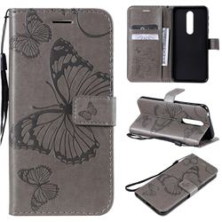 Embossing 3D Butterfly Leather Wallet Case for Nokia 7.1 - Gray