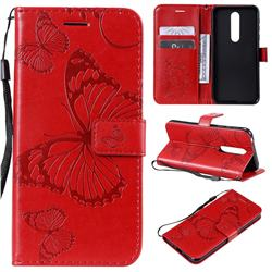 Embossing 3D Butterfly Leather Wallet Case for Nokia 7.1 - Red