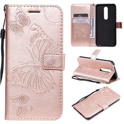 Embossing 3D Butterfly Leather Wallet Case for Nokia 7.1 - Rose Gold