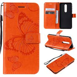 Embossing 3D Butterfly Leather Wallet Case for Nokia 7.1 - Orange