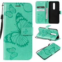Embossing 3D Butterfly Leather Wallet Case for Nokia 7.1 - Green