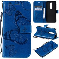 Embossing 3D Butterfly Leather Wallet Case for Nokia 7.1 - Blue