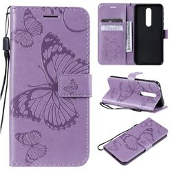 Embossing 3D Butterfly Leather Wallet Case for Nokia 7.1 - Purple