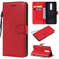 Retro Greek Classic Smooth PU Leather Wallet Phone Case for Nokia 7.1 - Red