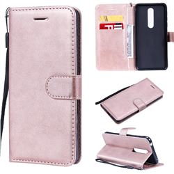 Retro Greek Classic Smooth PU Leather Wallet Phone Case for Nokia 7.1 - Rose Gold