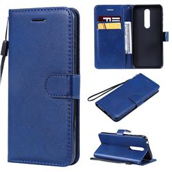 Retro Greek Classic Smooth PU Leather Wallet Phone Case for Nokia 7.1 - Blue