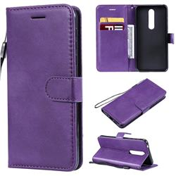 Retro Greek Classic Smooth PU Leather Wallet Phone Case for Nokia 7.1 - Purple