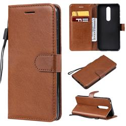 Retro Greek Classic Smooth PU Leather Wallet Phone Case for Nokia 7.1 - Brown