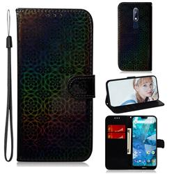 Laser Circle Shining Leather Wallet Phone Case for Nokia 7.1 - Black