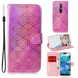 Laser Circle Shining Leather Wallet Phone Case for Nokia 7.1 - Pink