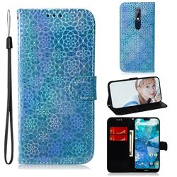 Laser Circle Shining Leather Wallet Phone Case for Nokia 7.1 - Blue