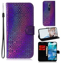 Laser Circle Shining Leather Wallet Phone Case for Nokia 7.1 - Purple