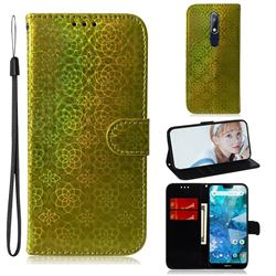 Laser Circle Shining Leather Wallet Phone Case for Nokia 7.1 - Golden