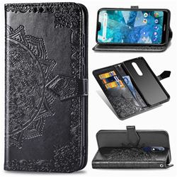 Embossing Imprint Mandala Flower Leather Wallet Case for Nokia 7.1 - Black
