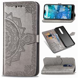 Embossing Imprint Mandala Flower Leather Wallet Case for Nokia 7.1 - Gray