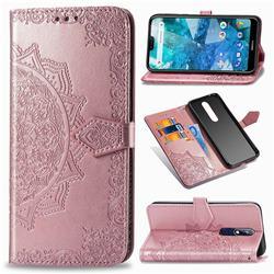 Embossing Imprint Mandala Flower Leather Wallet Case for Nokia 7.1 - Rose Gold