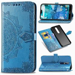 Embossing Imprint Mandala Flower Leather Wallet Case for Nokia 7.1 - Blue
