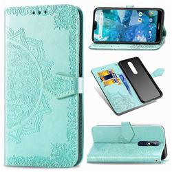 Embossing Imprint Mandala Flower Leather Wallet Case for Nokia 7.1 - Green